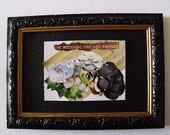 The Wedding Day has Arrived - Priceless Moments - ACEO Original Collage bunny rabbit hare love wedding congratulations roses celebration