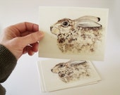 Brown Hare wants to say  Wish You Were Hare Postcard set of 6 rabbit bunny hare cute kawaii notelet notecard brown animal woodland lagomorph