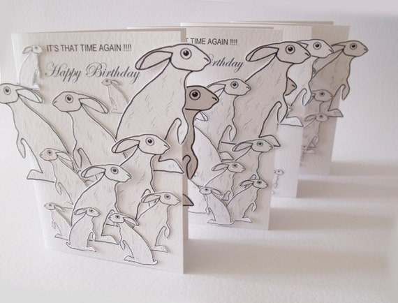 Its That Time Again  Happy Birthday Handmade Card in White with lots and lots of Grey Hares  READY TO SHIP