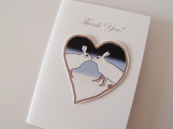 Thank You Handmade Card   with white kissing hares on a heart in the snow