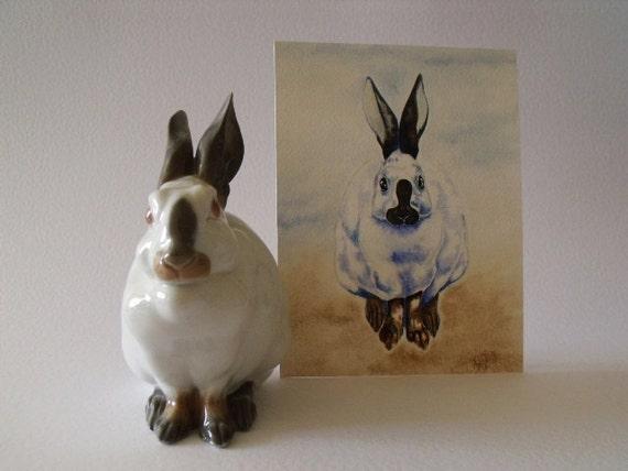 Copenhagen Rabbit Original Watercolour of white rabbit bunny with black ears black feet cute rabbit painting