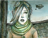Steampunk - 9x12 Original Matted Watercolor Painting