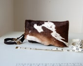 Sophie, brown leather and hide clutch bag, handmade, Liberty of London lined.