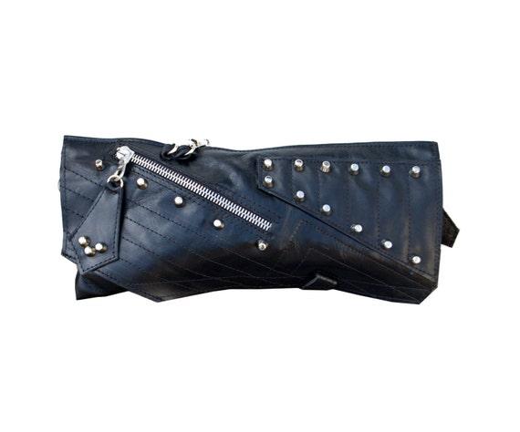 studded black leather clutch handmade one of a kind...