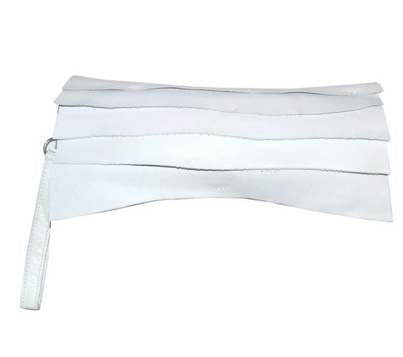 white leather clutch handbag with handle strap