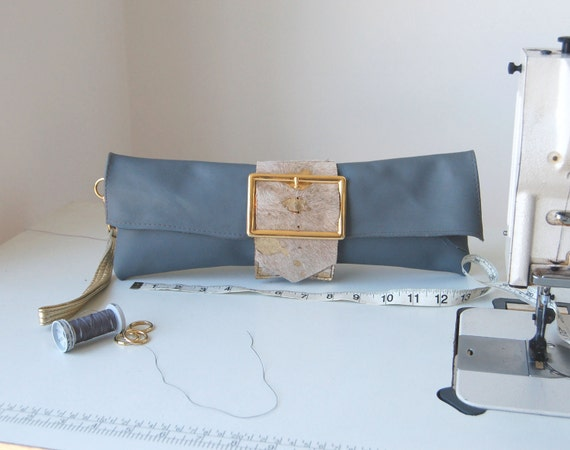 SALE WAS 70 Grey and gold leather clutch bag, handmade one of a kind