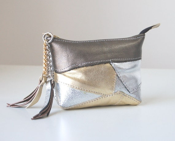 Metallic gold, silver leather purse with Liberty of London lining, handmade