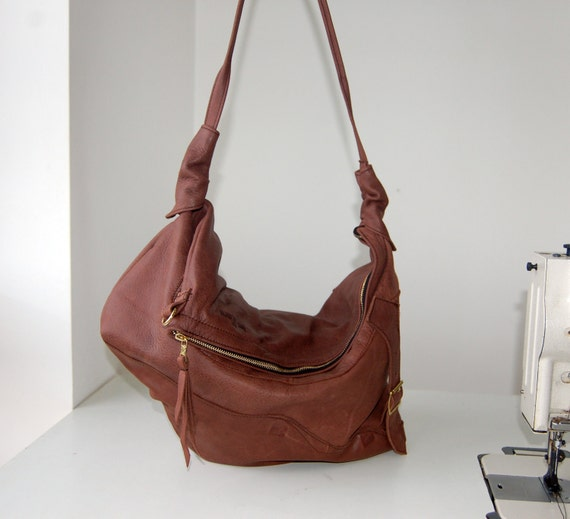 Marianne, handmade antiqued brown leather two size hobo shoulder bag.
