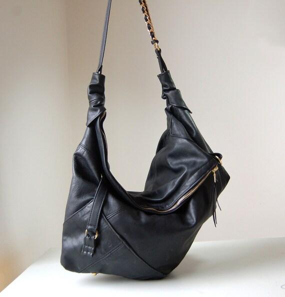 Marianne, handmade black leather hobo shoulder bag.