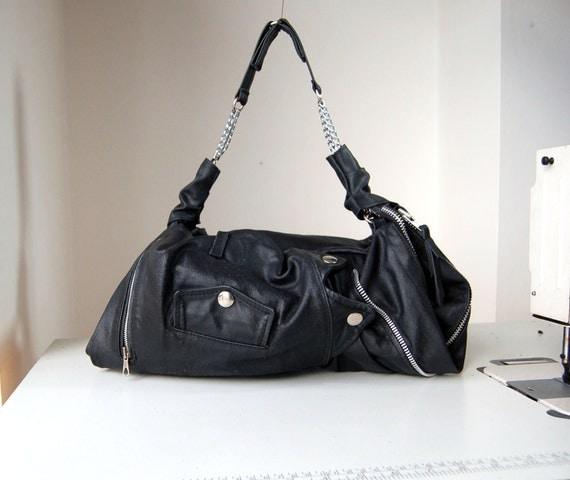 Nicolette, black changerble size biker shoulder bag, handmade.RESERVED