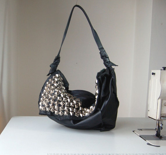 Coralie, studded black leather hobo bag purse, handmade
