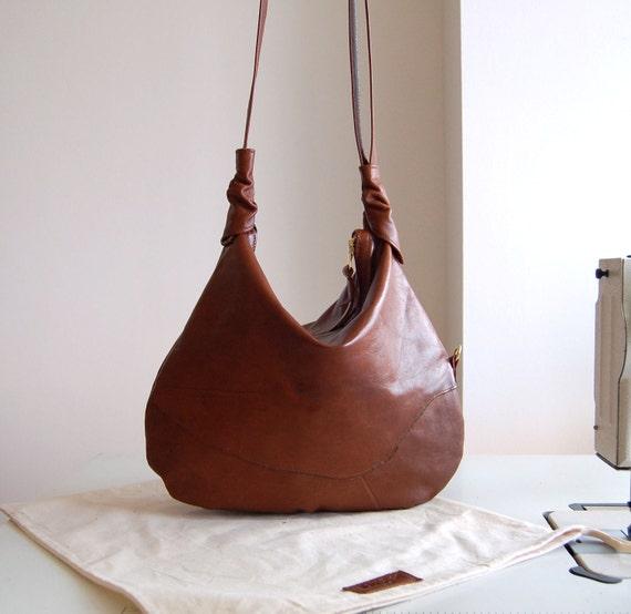 Rosaire, antiqued tan brown leather hobo shoulder bag, handmade.