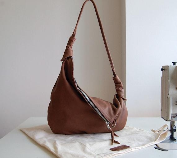 Rosaire, distressed brown leather hobo shoulder bag, handmade.