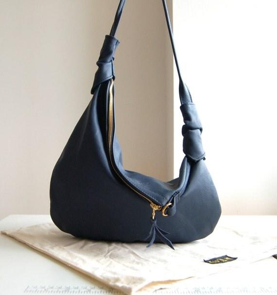 Rosaire, navy blue leather hobo shoulder bag, handmade.