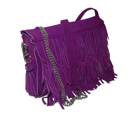 purple suede shoulder tassel bag, handmade, one-off