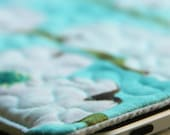 quilted ipad 1 and 2 sleeve - turquoise magnolia
