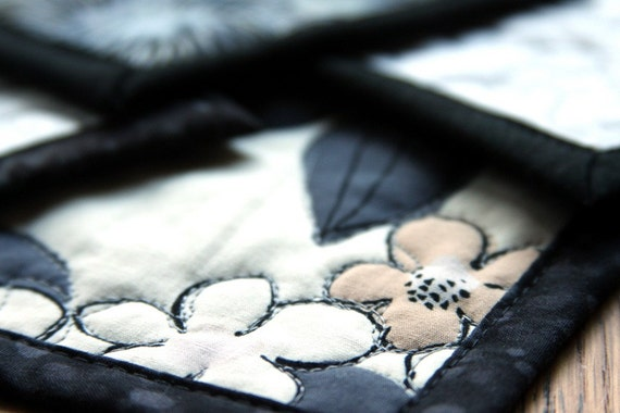 quilted coasters - grey harbors