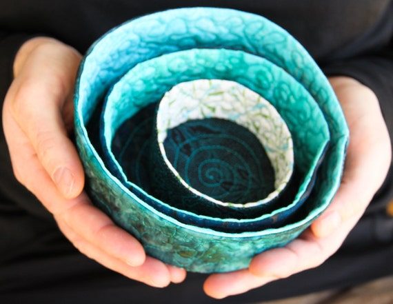 quilted soft sculpture nesting bowls - caribbean blue