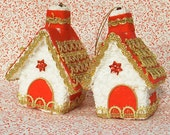 Pair of Vintage Cottage Christmas Ornaments