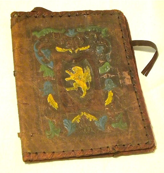 Vintage Leather Book Cover : Antique leather book cover