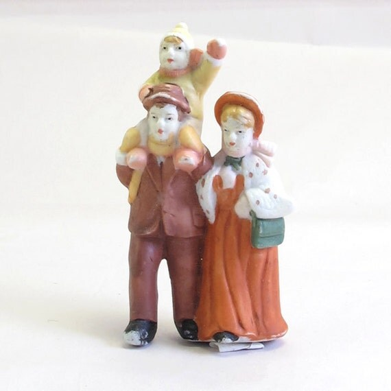 Vintage Bisque Figurines of a Family Taking a Walk