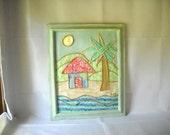 Fabric Art Collage Tropical Island Caribbean Palm Tree Beach Summer Home Decor OOAK