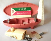 Vintage Singer Buttonholer Buttonhole Attachment Pink Atomic Case Sewing