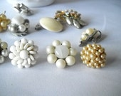 Vintage Jewelry Lot Faux Pearl Earrings Brooches Rhinestones Aurora Borealis