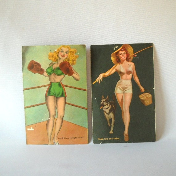 Vintage Pin Up Cards Bombshell 1940s Glamor Girls Nautical Boxing Fishing Sexy Vixen Assemblage Art Projects