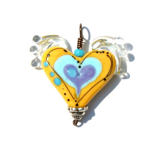 Bella Bead Jewelry- Lampwork Glass Heart Pendant