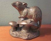 Small Brass Vintage Field Mouse and Mushroom