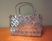 Vintage Folk Art Hand Made Woven Metal Basket