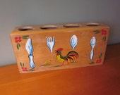 Vintage Wooden Painted Rooster Utensil Holder