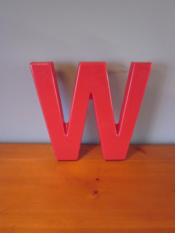 RESERVED for emietanner Large Vintage 12 Inch Cherry Red Molded Plastic Letter W