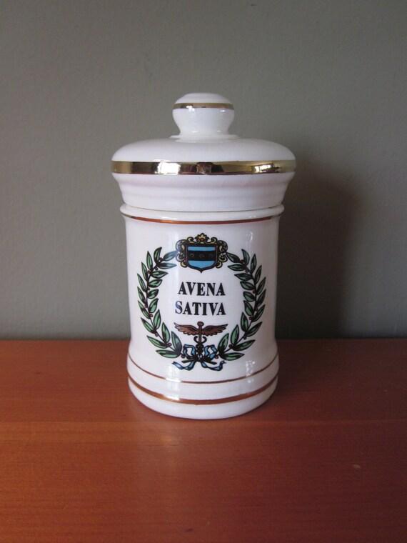 Vintage Ceramic Avena Sativa Apothecary Jar