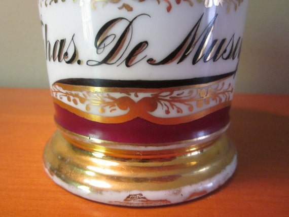 Vintage Mug Chas. De Musey Magenta With Gold Accents Shaving Mug