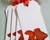 8 Handstamped Gift Tags with Goldfish Stamp with Hand Scrunched Coral Seam Binding