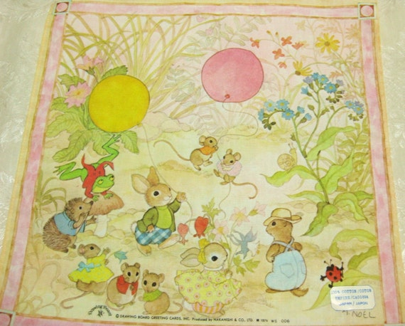 Vintage Cotton Child's Handkerchief Hankie by Drawing Board Cards Japan