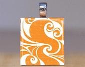Scrabble Tile Pendant - Orange Swirls
