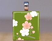 Scrabble Pendant - Japanese Blooms 13