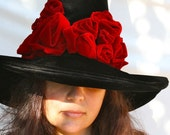 Witch Hat Black Hat Society, Halloween Adult Witch Costume, Red Roses Witches Hat