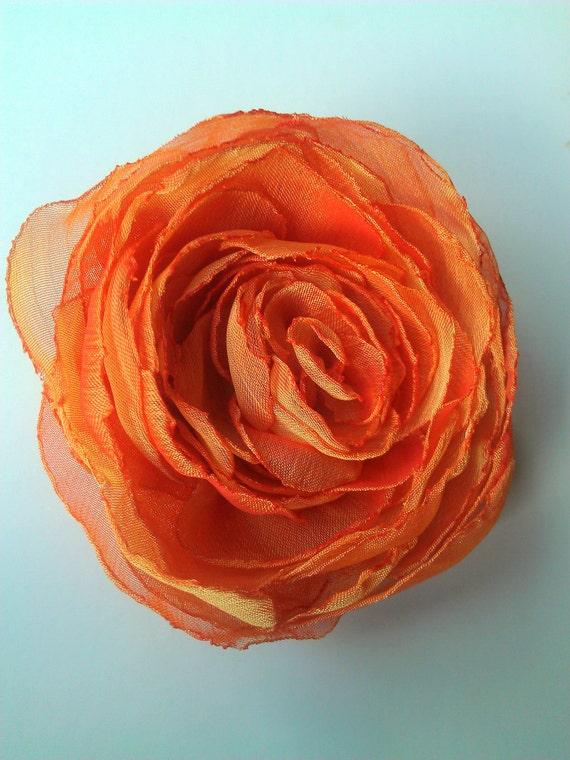 Hair Flower Orange Chiffon Rose