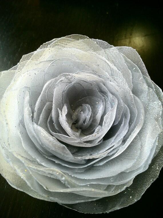 Star Dust Bridal Hair Flower Organza Rose Clip