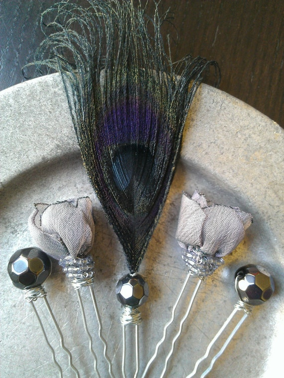 Evening Wedding Twilight Peacock Hair Pins