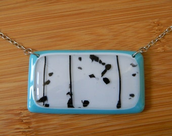 Snow Love Necklace - Made in Los Angeles - Fused Glass