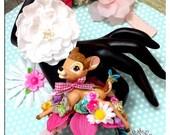 Sale Sweet Deer Fawn Kawaii Floral Metal Cuff Bracelet