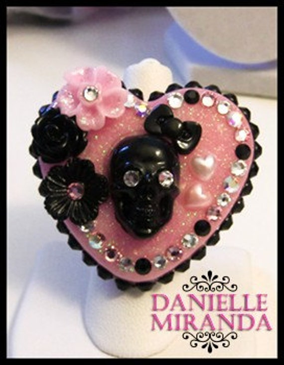 SALE Sinfully Sweet Sugar Skull Kawaii Heart Ring