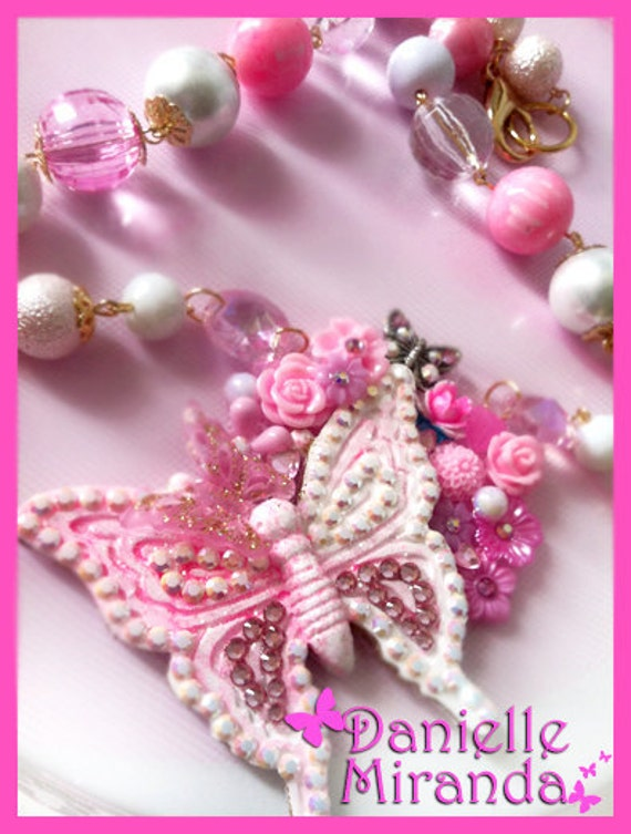 My Love is Free as a Butterfly Pink Sugar Collage Necklace