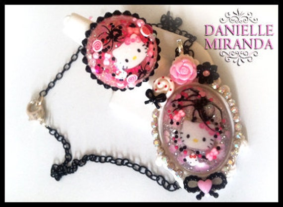 SALE Poison Candy Kitty Bubble Necklace and Ring Set