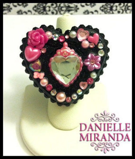 Pink Princess Pop Sparkly Heart Ring